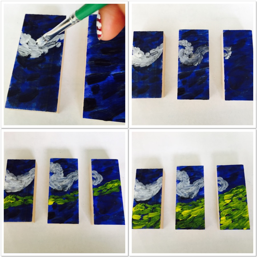 The Starry Night Mini Triptych Painting