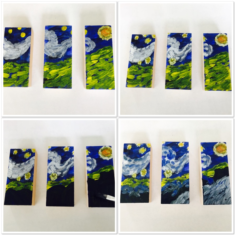 mini starry night triptych the starry night mini triptych