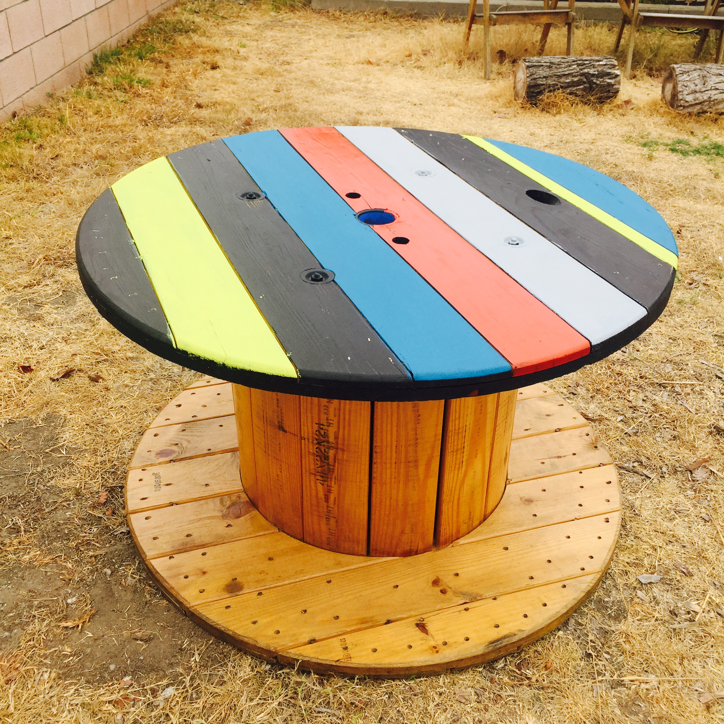 Colorful Electric Wire Spool Table