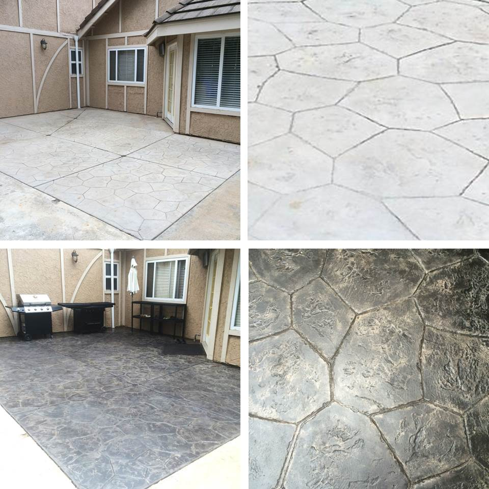 stamped concrete patio - before & after staining